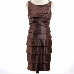 London Times Shutter Pleated Dress. Size 8 Brown